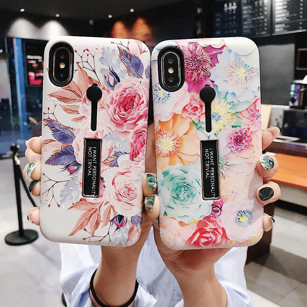 AXBETY For iPhone 7 8 6s Plus Fashion flower silicon Ring Phone Cases For iPhone XS MAX/XR Flamigo 2 In 1 Loop Stand Phone Cases
