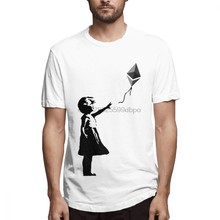 Ethereum Balloon Girl Banksy Loves Bitcoin Series Top Tees Unisex For Boy Leisure Streetwear Pure Cotton T-shirt For Man(China)