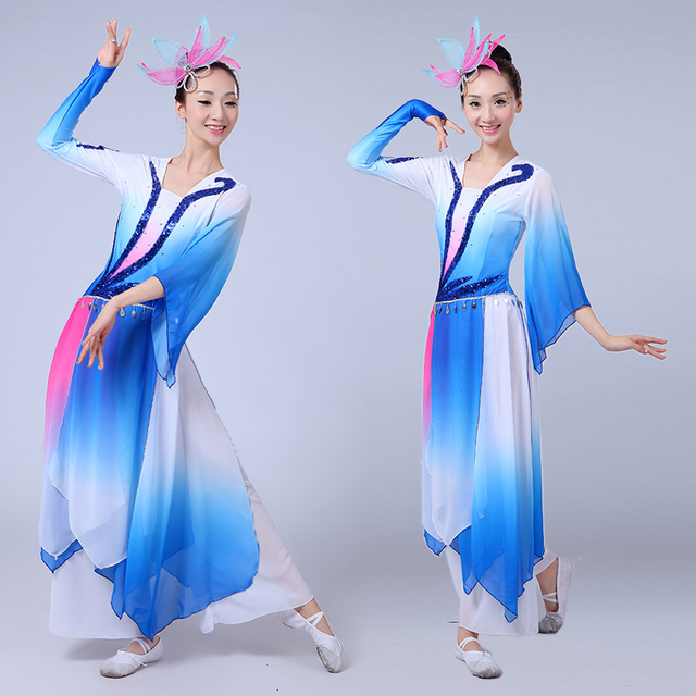 a372961d2038 women elegant Chinese Folk dance costumes sequins Embroidery Hanfu ...