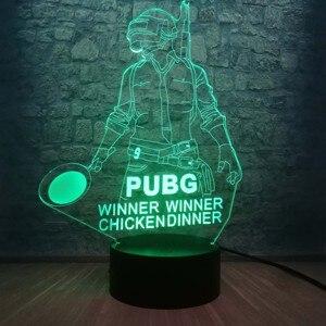 Image 1 - Cool bataille Royale jeu PUBG gagnant 3D veilleuse LED 7 couleur Illusion changeante lampe de bureau pour enfants anniversaire lampe décor à la maison
