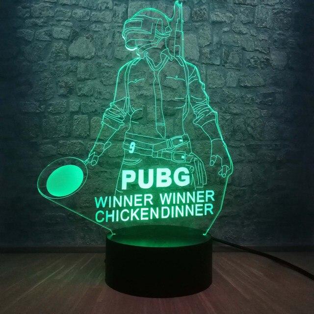 Cool bataille Royale jeu PUBG gagnant 3D veilleuse LED 7 couleur Illusion changeante lampe de bureau pour enfants anniversaire lampe décor à la maison