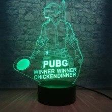 Fajne Battle Royale gra PUBG zwycięzca 3D lampka nocna LED 7 kolor Illusion zmiana lampy biurko dla dzieci lampa urodzinowa Home Decor