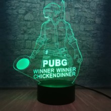 Legal batalha royale jogo pubg vencedor 3d night light led 7 cores ilusão mudando lâmpada de mesa para crianças aniversário decoração da sua casa