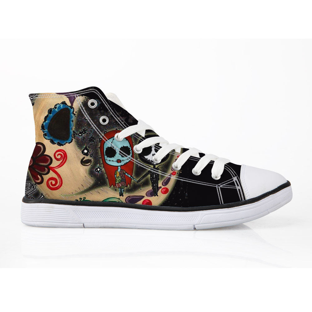 39c63a87782d ELVISWORDS Skull Women Canvas Shoes The Nightmare Before Christmas Jack  Printing Canvas Vulcanize Sneakers Female Flats