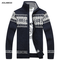Aolamegs Men Knitted Pullover Jacquard Winter Warm Soft Sweaters High Quality Fashion Casual Male Turtleneck Knitwear Autumn
