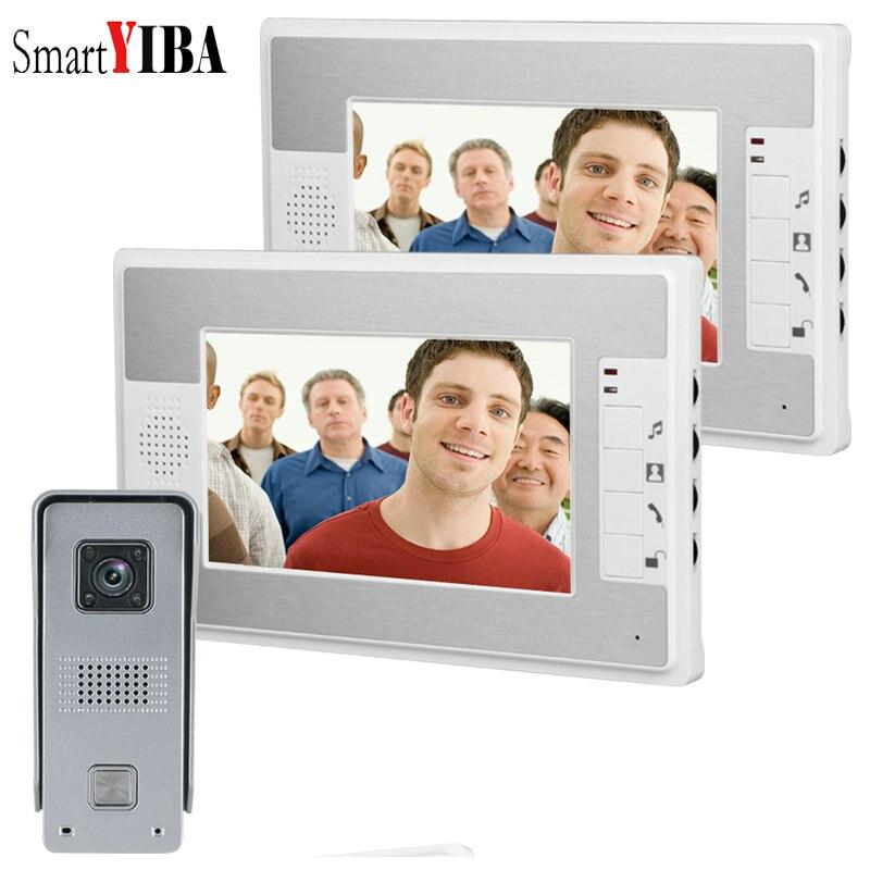 SmartYIBA 7 Inch Night Vision Home Intercom Waterproof Button Ring Call Doorphone With 2 Monitors Video Doorbell + Lock