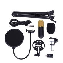 Unidirectionele Condensator Microfoon Arm Stand Studio Mic Telefoon Filter Schuim Cap Houder met USB Audio Adapter Record(China)