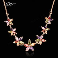 Luxury Crystal Flower Necklaces 18K Gold Plated Fashion Brand Vintage Wedding Jewelry For Women Chains Accessiories