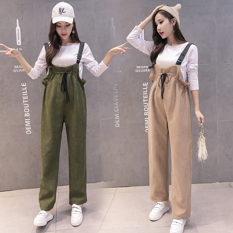 Winter Maternity Clothes Plus Velvet Jumpsuit Warm Sweatpants Casual Overalls Pregnancy Clothing For Pregnant Women Trousers pocket side ribbed velvet overalls
