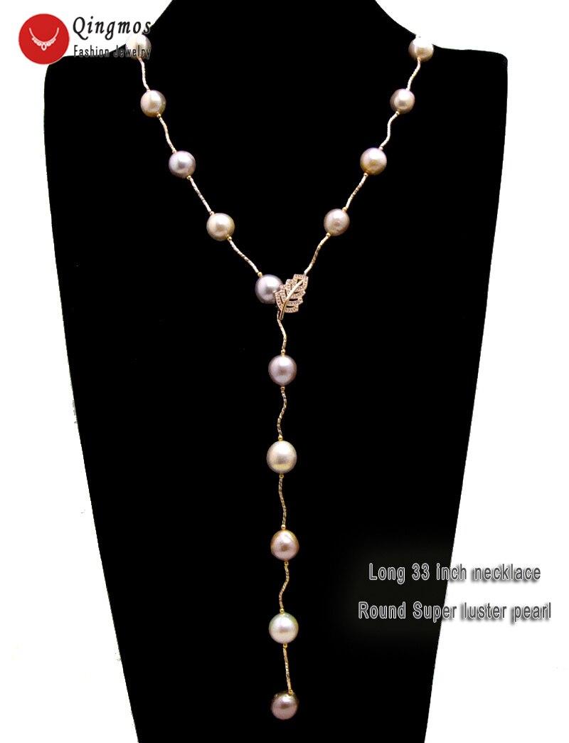 Женский набор украшений Qingmos, ожерелье и браслет из розового золота, натуральный круглый 11 12 мм фиолетовый жемчуг Эдисон, 33 дюйма, Подарочный