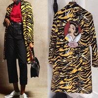 Для женщин пикантные леопардовым принтом жаккардовые пальто куртки женские пикантные мультфильм печать лацкан с длинным рукавом Уличная в