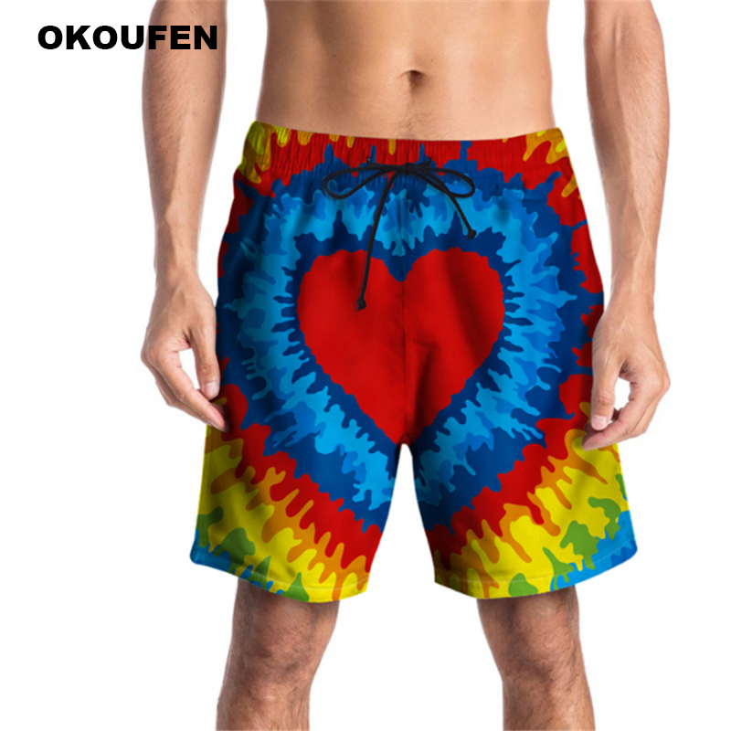 2018 Brand Quick Drying Board Shorts Heart Print Trunks Mens Beach Short Bermuda Masculinade Marca Homme Shorts Drop Shipping Year-End Bargain Sale Board Shorts