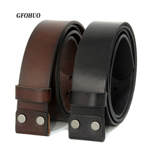 GFOHUO Vintage No Buckle belt suit Smooth buckle black coffee belts men luxury Cowskin Soild Genuine only leather without buckle