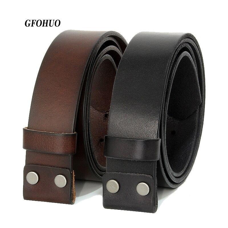 GFOHUO Vintage sin hebilla cinturón traje liso hebilla negro cinturones de café hombres lujo Cowskin Soild cuero genuino solo sin hebilla