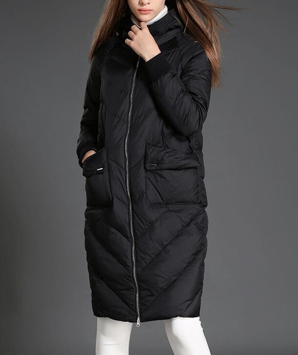 Women Winter Duck Down Coat Large Pocket Warm Hooded Down Coat Women Long Cocoon Style Winter Coat