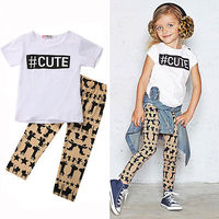 0-5Y Baby Kids Boys Girl Cotton Clothes Outfit Short Sleeve TShirt Top+ Pants Children 2pcs Suit Outwear Casual