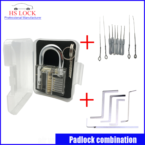 Clear padlock practice lock set with 5 pcs tension tools 10pcs Broken Key Extractor Set Removing Removal Hooks Lock Kit hot sale practice lock set with professional broken key extractor set locksmith tool key removal hooks kit 5 pcs tension tools