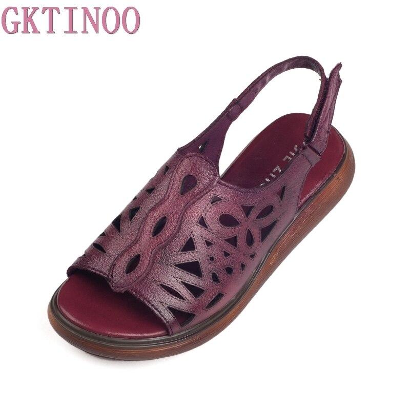 GKTINOO женские сандалии Лето Натуральная Кожа винтажный стиль дамские туфли плоские сандалии Женщины 2018 удобная обувь для мам