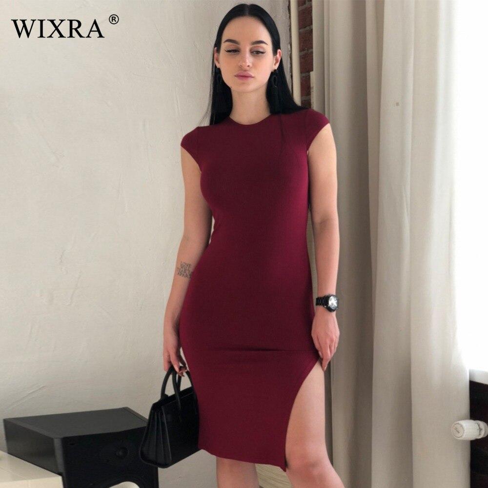 WIXRA Grund O Neck Kleid Frauen Side Split Hohe Stretched Strickripp ...