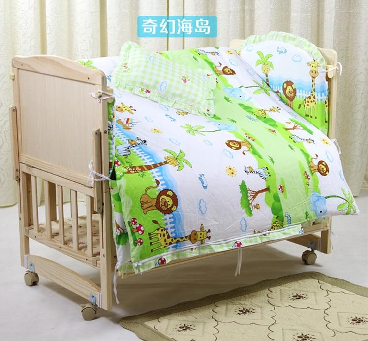 Promotion! 6PCS Cartoon Baby bedding set crib bedding set 100% cotton bedclothes (3bumpers+matress+pillow+duvet) promotion 10pcs cartoon baby crib bedding set 100