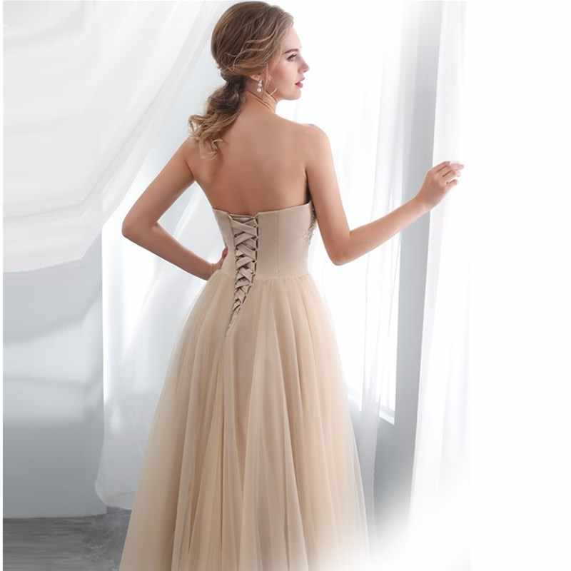 a38e5115bd ruthshen Long A line Evening Dress With Appliques Draped Tulle Floor Length  Women Formal Champagne Strapless Prom Dresses 2019