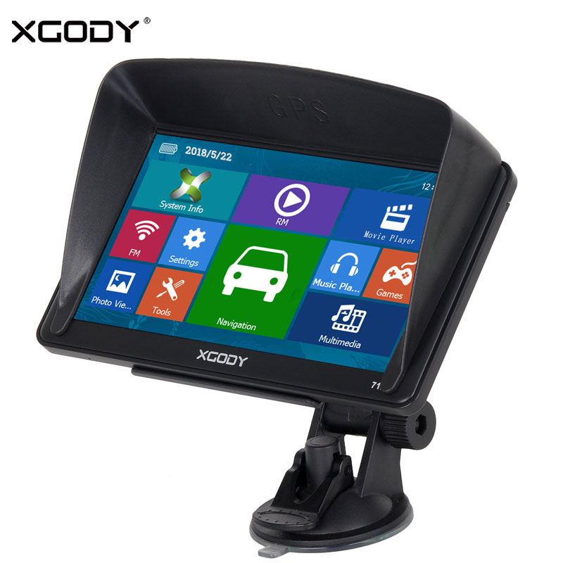 XGODY 712 Car Navigator GPS Truck Navigation 7 Inch Touch Screen Sat Nav Bluetooth Rear View Camera Navitel 2018 Europe Free Map