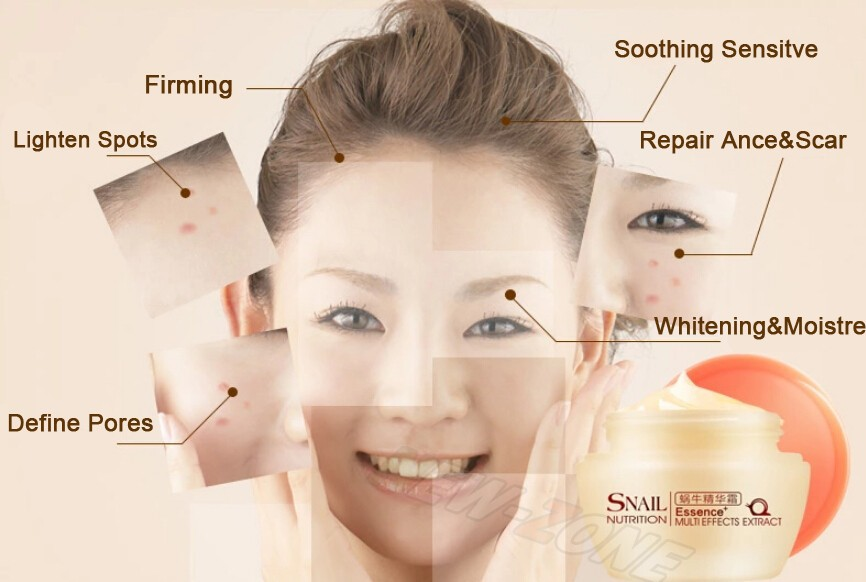 Powerful Multi Effect Snail Essence Cream Collagen Eliminates wrinkles Remove Acne Scar Whitening Anti aging Face Care Day Cream 3