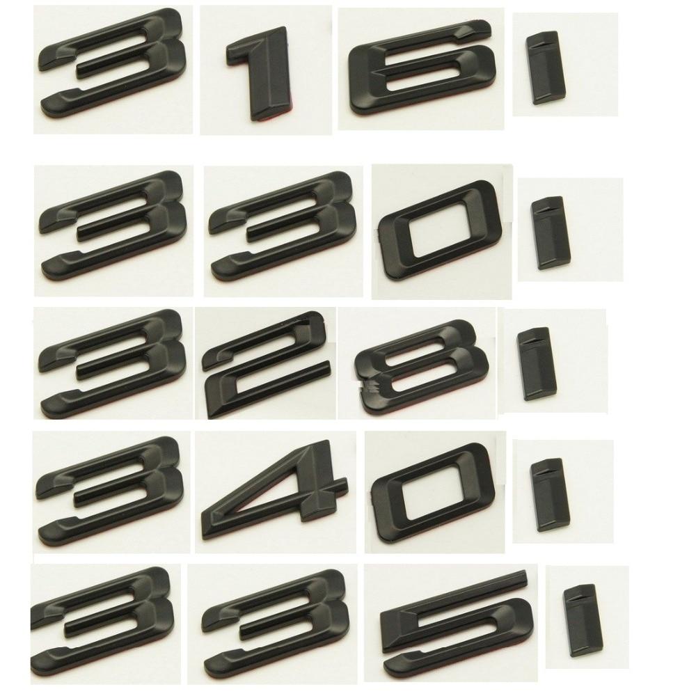 Matte Black ABS Number Letters Word Car Trunk Badge Emblem Emblems for BMW 3 Series 316i 318i 320i 325i 328i 330i 335i 340i 345i