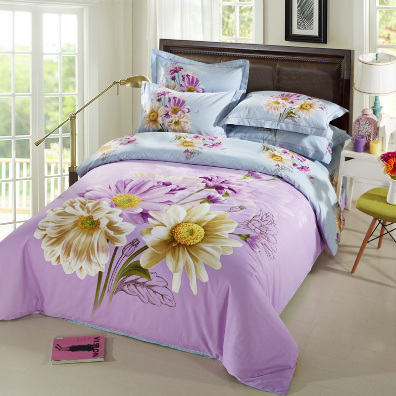 Captivating Blue And Lilac Daisy Bedding Set Queen King Size Bed Sheets 3D Watercolor  Floral Duvet Cover Pillowcase Brushed Cotton Textiles In Bedding Sets From  Home ...