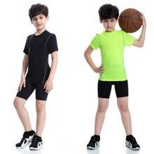 1b04c341e6c Niños de la marca de deportes Camiseta de manga corta niños respirables del  deporte Jerseys apretados Fitness gimnasio baloncest.