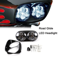 WHDZ Black Chrome Double Headlight H4 Led Motorcycle Headlamp For Harley Road Glide LED Headlight 2004 2013