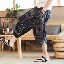 Плюс повседневные мужские штаны в китайском стиле с этническим принтом, хлопковые свободные брюки с эластичной резинкой на талии, мужские Модные шаровары