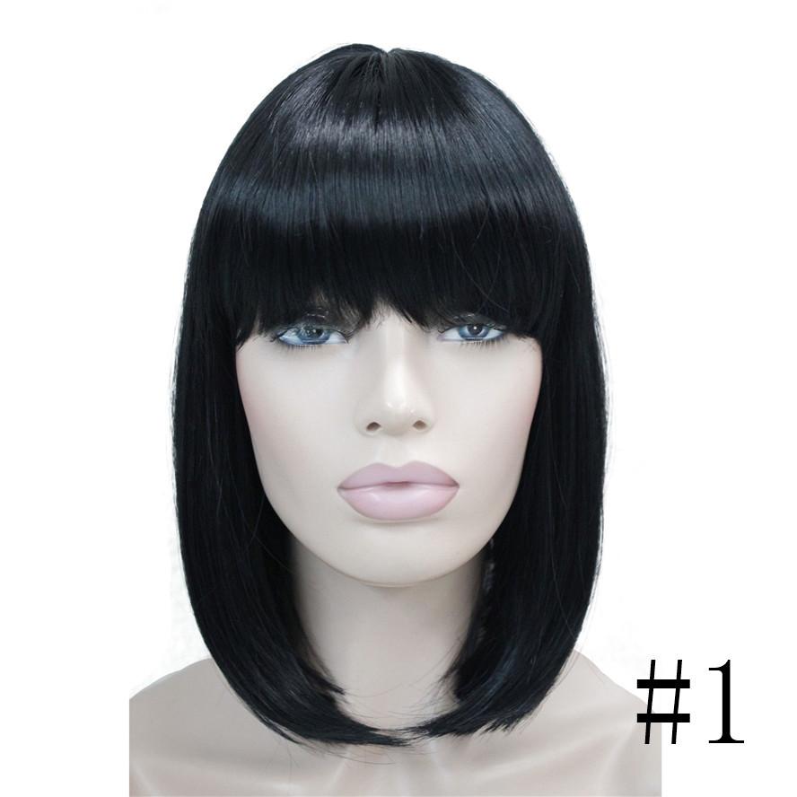 strongbeauty женские парики аккуратные взрыва боб стиль короткие прямые волосы черный/блондинка полные синтетические парик 6 цветов