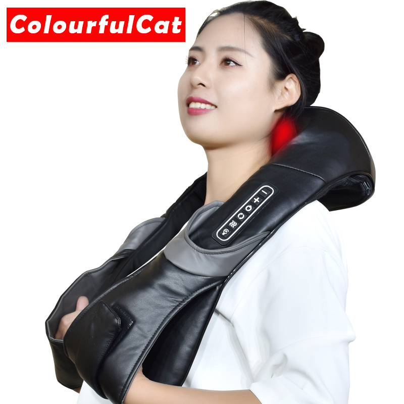 Electric Neck Roller Massager for Back Pain Shiatsu Infrared lamp Massage Pillow Gua Sha Products Body