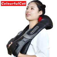Masajeador de rodillo de cuello eléctrico para el dolor de espalda Shiatsu lámpara de infrarrojos almohada de masaje Gua Sha productos para el cuidado de la salud del cuerpo relajación