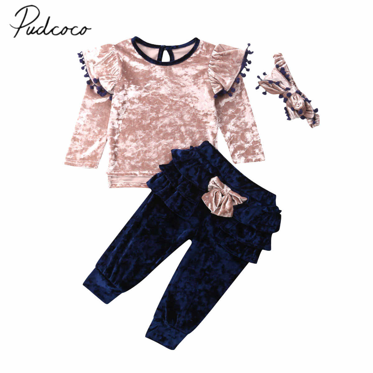 2019 Baby Spring Fall Clothing Toddler Kids Baby Girl Clothes Velvet Ruffle Bow Tops Shirts Long Pants 3Pcs Outfit Set 1-6Y