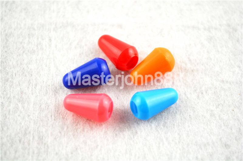 Bulk 50pcs Colourful Plastic Strat Electric Guitar 5-Way Selector Switch Tips Cap Knobs 7 Colors