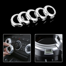 CITALL 5pcs Car Dashboard Console Air Condition Switch Button Ring Cover Trim Fit for Land Rover Freelander 2 LR2 2013 2014 2015