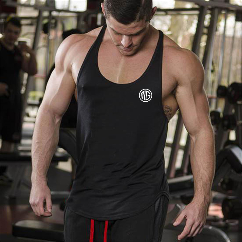Muscleguys Brand Clothing fitness Bodybuilding Racerback   Tank     Tops   Men Fitness Sleeveless Vest Cotton Singlets Gyms Muscle Shirt