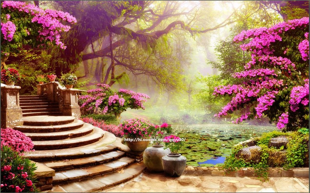 3d Stereoscopic Wallpaper Custom Wallpapers For Living Room Garden Scenery Background Wall Forest In From Home Improvement On