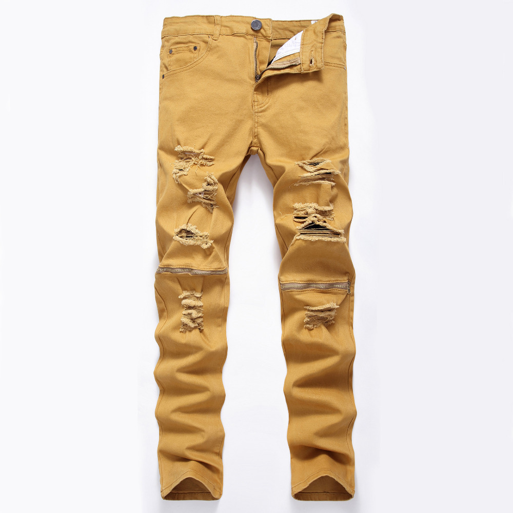 NEW Men Ripped Denim Biker Jeans Pant Knee Holes Zipper Fashion Jeans Men Slim Skinny Destroyed Torn Jean Pants cotton 7 Colors 2016 new brand slim fit destroyed torn jeans new blue ripped jeans men with holes pants for male plus size 28 33