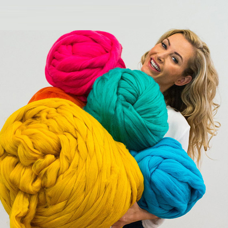 1000g / super soft thick yarn merino wool yarn DIY large arm roving knit blanket hand woven spinning crochet hat scarf