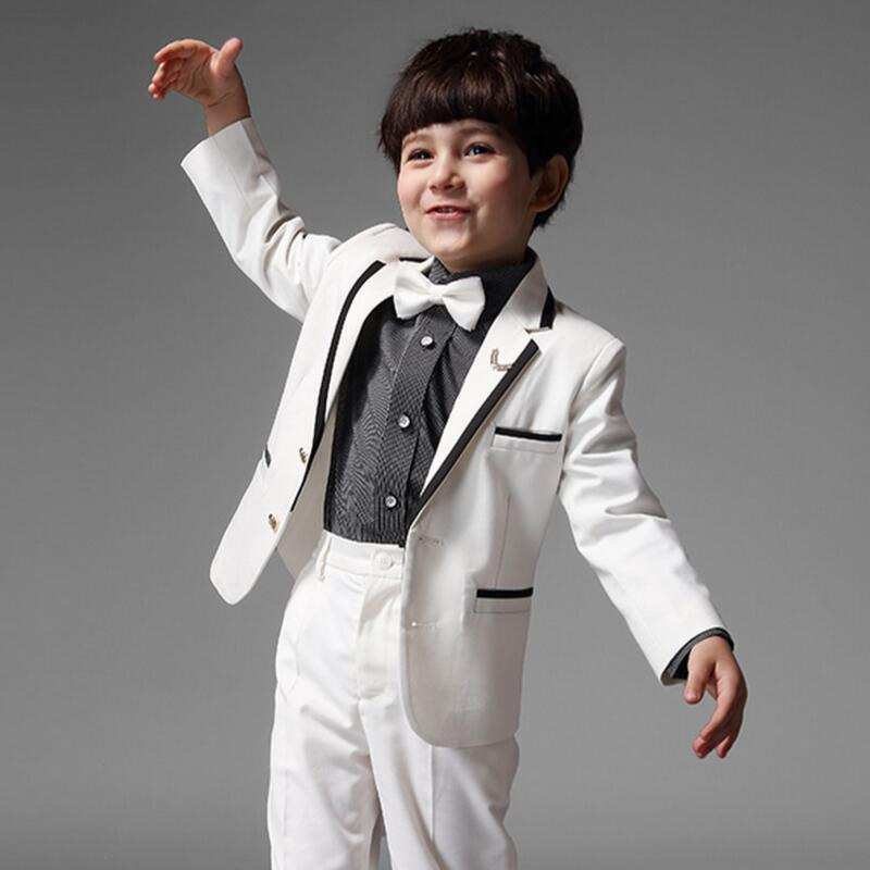 White Children Boy Suit Autumn Spring Boys Formal Suits Performance Birthday Clothing Outwear Pants Shirt handsome fashion boys suits embroidery children s business suit stand collar performance clothing flower boys gown