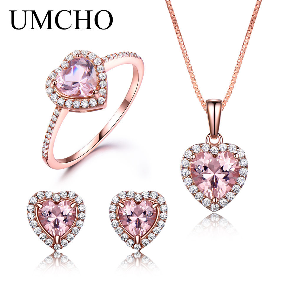 UMCHO 925 Sterling Silver Jewelry Ring Set Romantic Heart Morganite Rings Pendant Stud Earrings For Women Party Fine Jewelry orange morganite stylish jewelry set for women white zircon gold color rings earrings necklace pendant bracelets