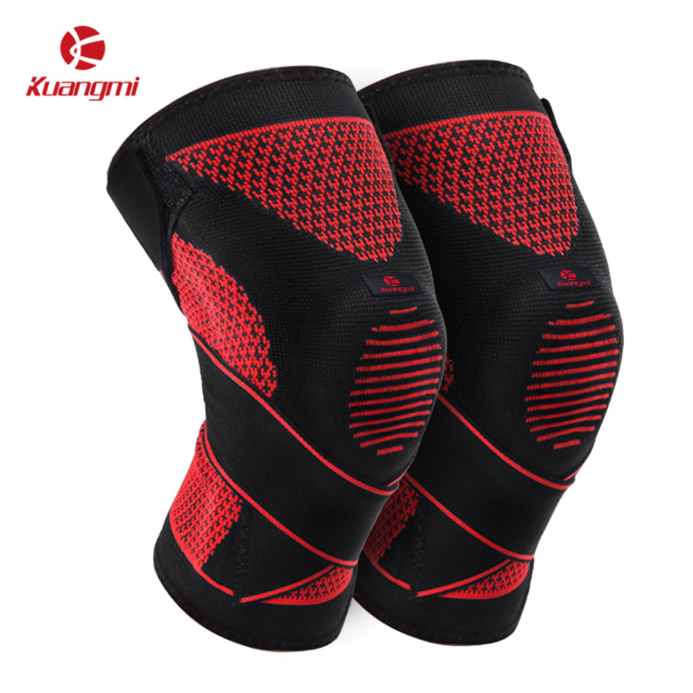 Kuangmi 1 Pair Cross straps Knee Protector Breathable Knitting Knee Brace Support Patella and Ligaments Stabilizer