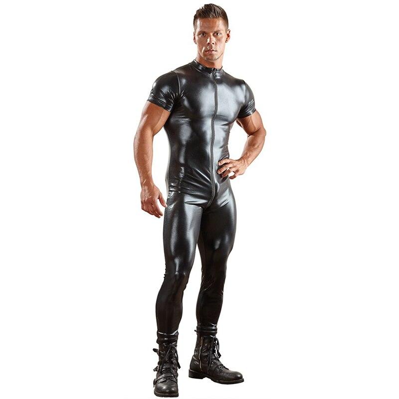 2019 Patent Leather Zipper Sexy Lingerie Vest Underwear Tights For Men Singlet Lingerie Bodysuit Nightclub Stage Performance