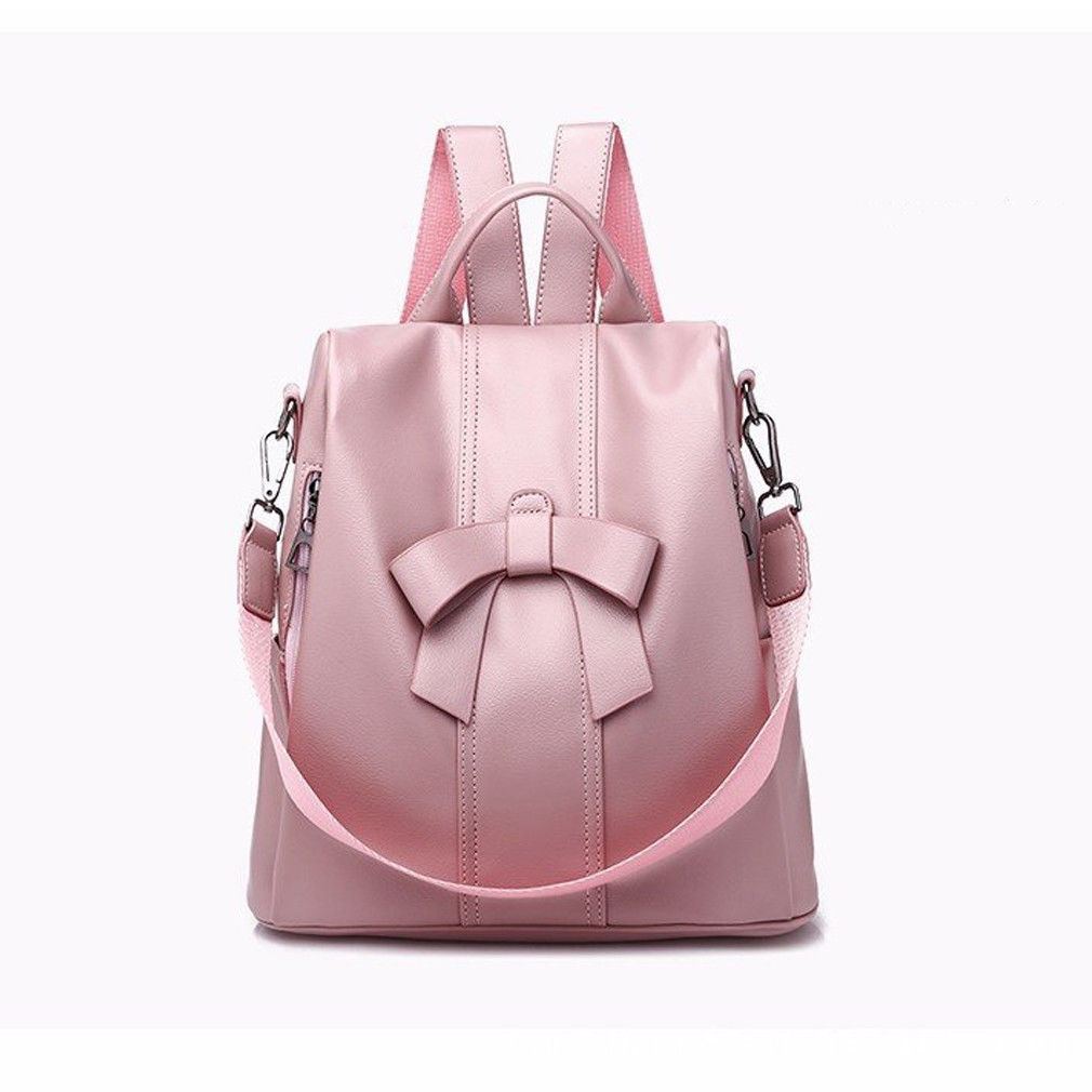 Womens PU leather solid color fashion backpack leisure travel detachable shoulder strap shoulder bag school bagWomens PU leather solid color fashion backpack leisure travel detachable shoulder strap shoulder bag school bag