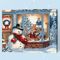 Frameless Snowman Christmas Diy Digital Painting By Number Acrylic Paint Abstract Modern Wall Art Canvas Painting