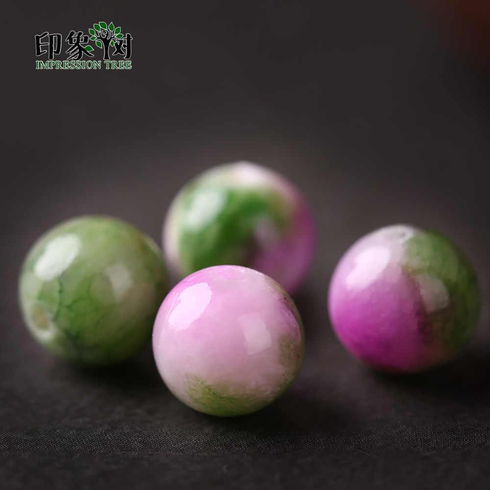 หินธรรมชาติลูกปัดเปอร์เซีย Jades สีชมพูสีเขียวผสมสีเลือกขนาด 8/10 มม.Mottled ลูกปัดแก้ว DIY เครื่องประดับ 1860