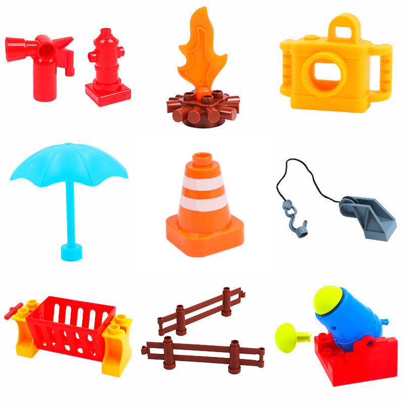 DIY Building Block Accessories Compatible With Legoingly Camera Duploed  Fire Suitcase Fence Torch Tables Bulk Parts Toys For Children  (16)